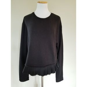 J. Crew Satin Ruffle Pleated Hem Black Sweatshirt